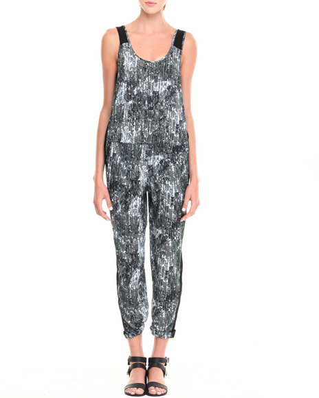 ALI & KRIS Black,White Geo Print Sheer Back Jumpsuit