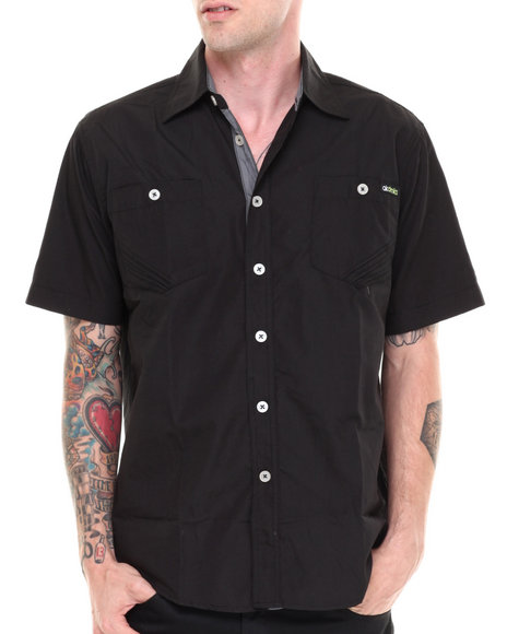 Akademiks Black Glory Solid Short Sleeve Button Down Shirt
