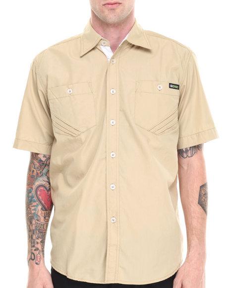 Akademiks - Men Khaki Glory Solid Short Sleeve Button Down Shirt
