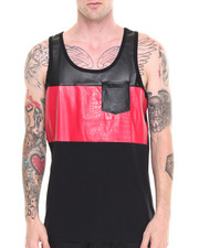 Men - Racer Faux Leather/Croc Trim Tank Top