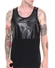 Akademiks - Racer Faux Leather/Croc Trim Tank Top
