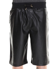 Men - Derby Faux Leather Block Drawstring Shorts