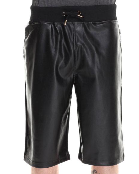 Akademiks - Men Black Derby Faux Leather Block Drawstring Shorts