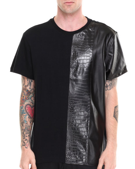 Akademiks - Men Black Formula  Faux Leather/Croc Trim Tee - $13.99