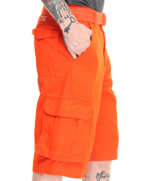 Akademiks Orange Camper Twill Belted Cargo Shorts