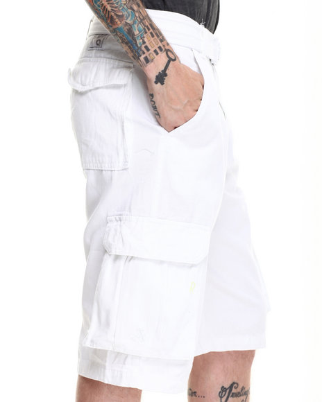 Mens White Cargo Shorts