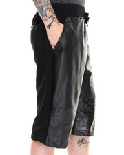 Men - Enzo Faux Leather/Croc Trim Drawstring Shorts