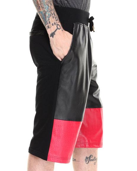 Akademiks - Men Red Enzo Faux Leather/Croc Trim Drawstring Shorts
