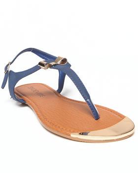 Fashion Lab - Milan Flat Sandal w/ Gold Plate & Bow Detail