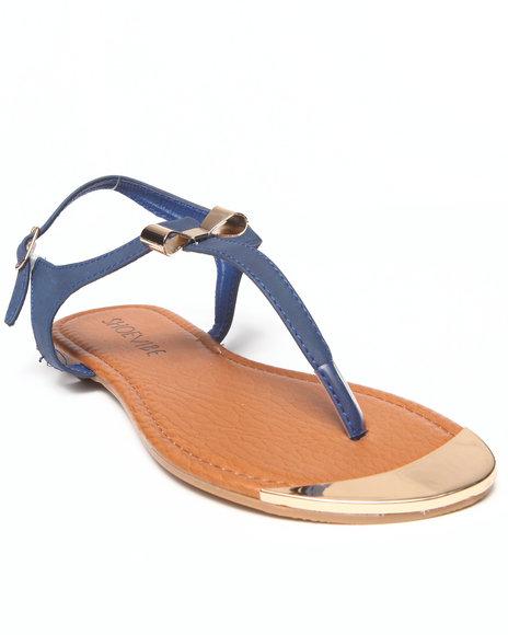 Fashion Lab - Women Navy Milan Flat Sandal W/ Gold Plate & Bow Detail