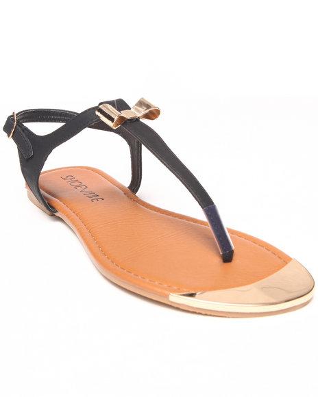 Fashion Lab - Women Black Milan Flat Sandal W/ Gold Plate & Bow Detail