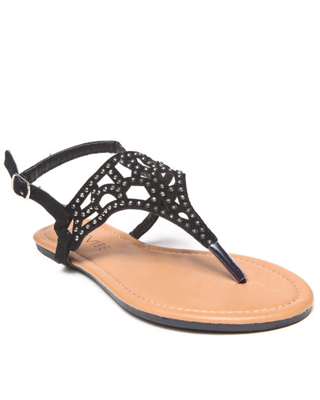 Fashion Lab - Women Black Nora Flat Sandal W/ Cut-Outs