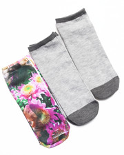 Accessories - No Show Floral Kitty 3-Pack Sock
