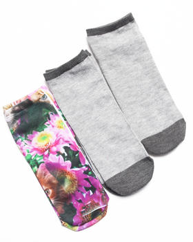Rampage - No Show Floral Kitty 3-Pack Sock