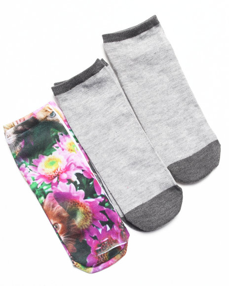 Rampage Women No Show Floral Kitty 3-Pack Sock Multi 9-11 - $3.99