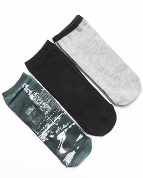 Rampage - No Show City Photo 3-Pack Socks