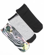 Accessories - No Show Zebra Photo 3-Pack Sock