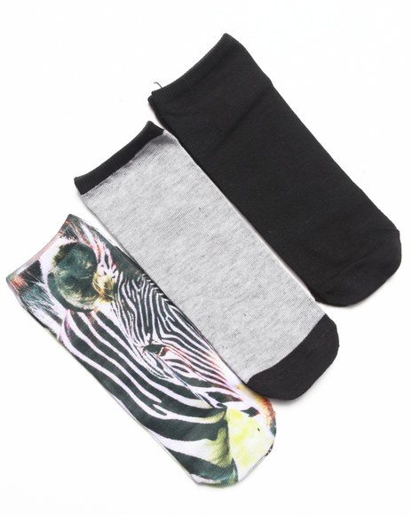 Rampage Women No Show Zebra Photo 3-Pack Sock Multi 9-11 - $3.99