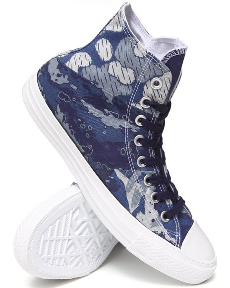 Converse - Men Blue, Camo Tri Panel Camo Chuck Taylor All Star Hi Sneakers