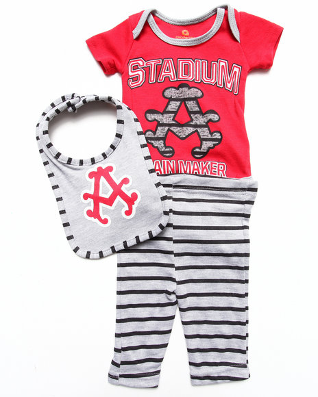 Akademiks - Boys Red 3 Pc Set - Striped Bodysuit, Pants, & Bib (Newborn)