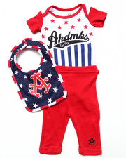 Akademiks - 3 PC SET - AMERICANA BODYSUIT, PANTS, & BIB (NEWBORN)