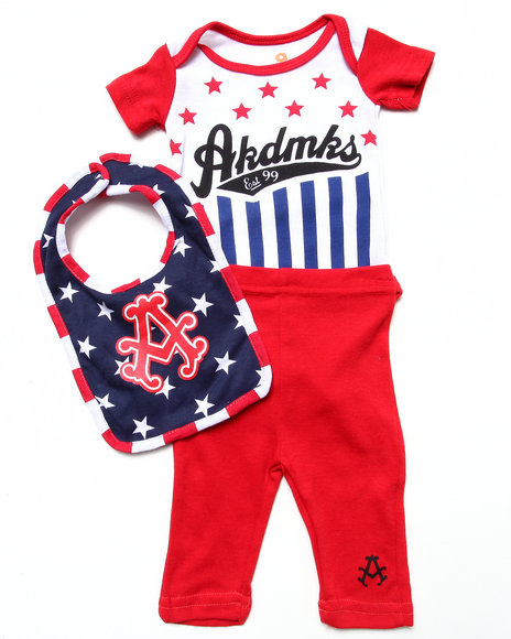 Akademiks Boys Blue 3 Pc Set Americana Bodysuit, Pants, & Bib (Newborn)