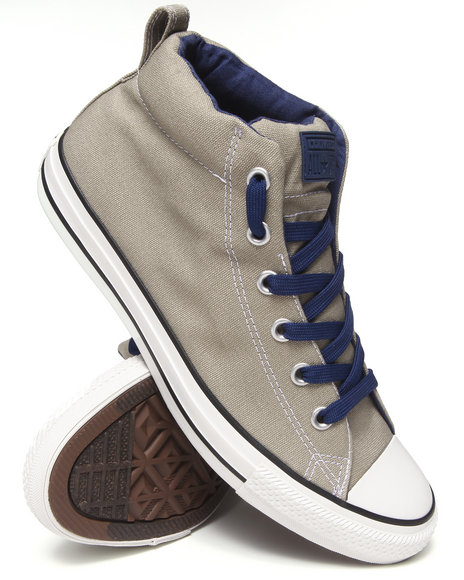 Converse - Men Silver Color Plus Chuck Taylor All Star Street Mid Sneakers