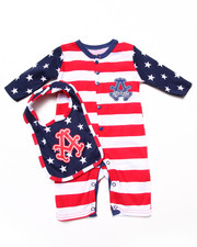 Boys - AMERICANA PLAYSUIT & BIB SET (NEWBORN)