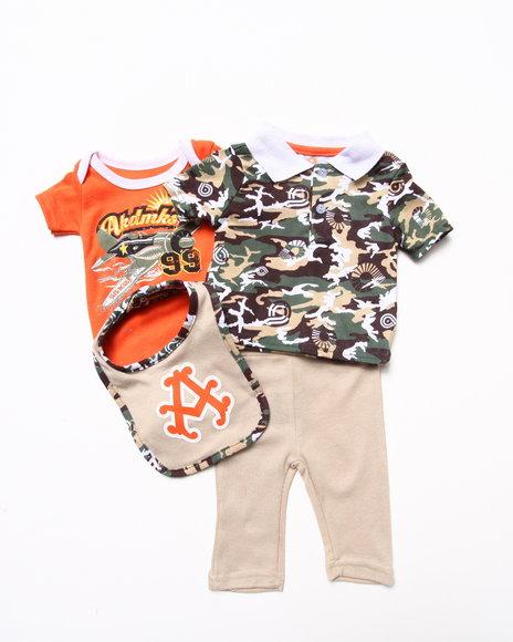 Akademiks Boys Camo 4 Pc Set Camo Polo, Bodysuit, Pants, & Bib Set (Newborn)