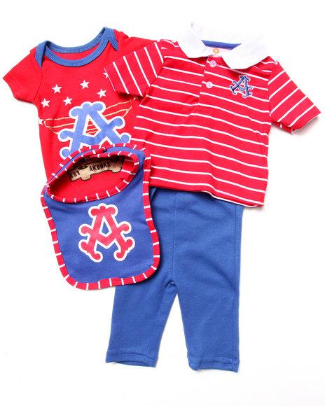 Akademiks Boys Red 4 Pc Set Polo, Bodysuit, Pants, & Bib Set (Newborn)