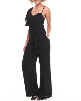 XOXO - Asymmetrical Ruffle Wide Leg Jumpsuit