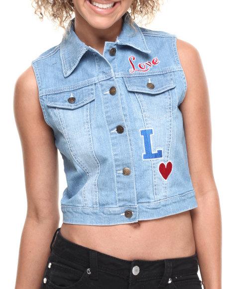 Fashion Lab - Bleached Love Embroidered Denim Vest