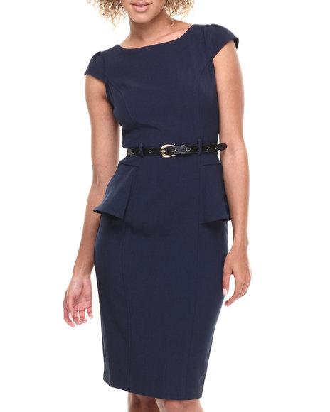 Xoxo - Women Navy Night Out Peplum Belted Dress