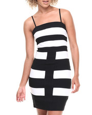 Women - Bodycon Mod Stripe Dress