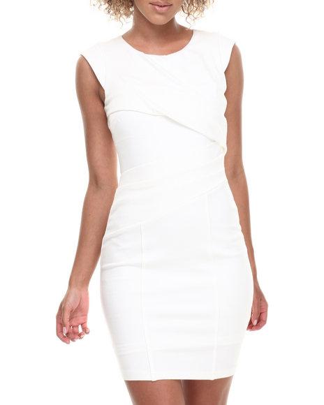 Xoxo - Women Ivory Ponte Pleated Bodycon Dress