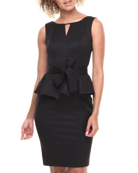 XOXO Black Garbardine Peplum Belted Dress