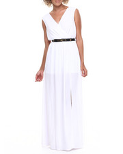 Women - Belted Slits Maxi Dress