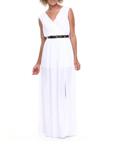 Xoxo - Women White Belted Slits Maxi Dress
