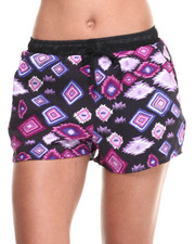 Women - Exploded Aztec Print Drawstring Short