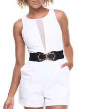 Jumpsuits - Mesh Insert Belted Romper