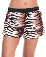 Women - Animal Print Drawstring Short