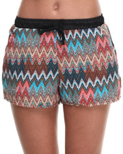 Women - Multi Zig-Zag Print Drawstring Short