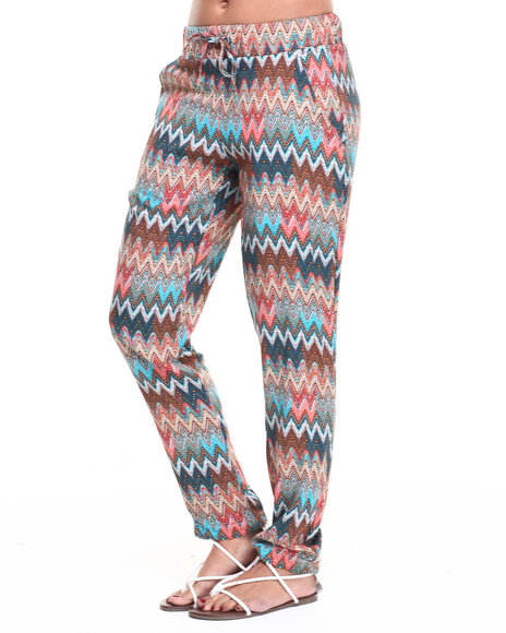 Fashion Lab - Women Multi Multi Zig-Zag Printed Chalis Pant