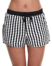 Women - Checkered Print Drawstring Short