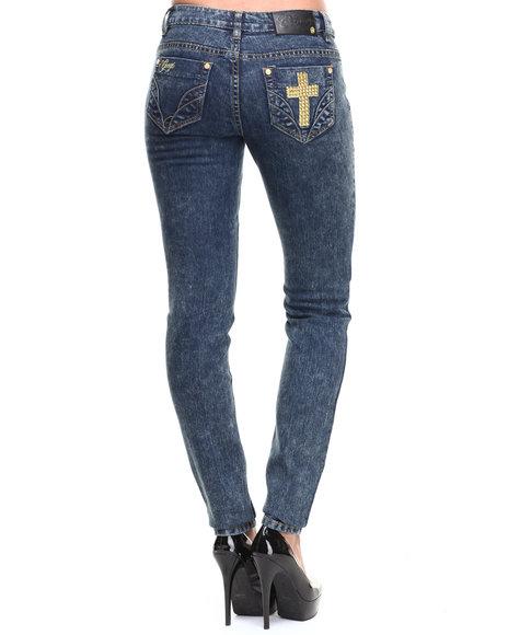 COOGI Blue Cross Skinny Jeans