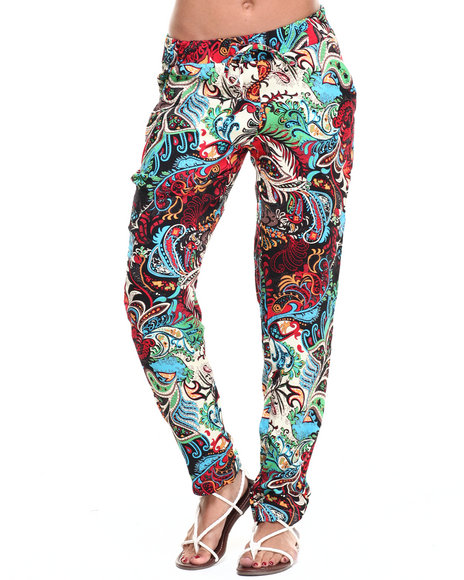 Fashion Lab - Women Multi Exploded Floral Print Chalis Pant