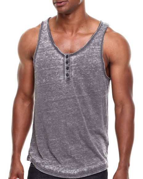 Buyers Picks - Men Black Burnout Henley Tank Top