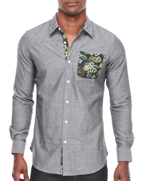 Grenade - Men Grey Court Date L/S Button-Down