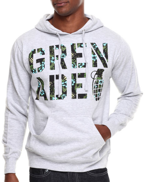 Grenade - Men Light Grey Aloha Pullover Hoodie