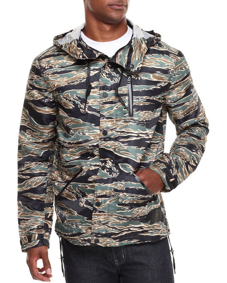 Blvck Scvle - Men Olive Jungle Printed Nylon Waterproof Anorak Jacket